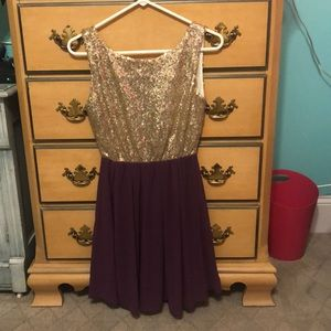 Francescas dress gold and purple new with tags